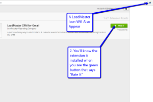 Desktop view of LeadMaster's CRM in Gmail with arrows pointing to LeadMaster icon and rate it button