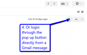 Desktop view of LeadMaster pop up button in Gmail message