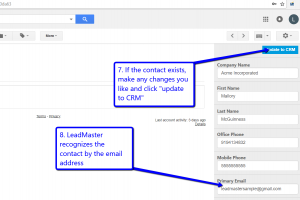 Desktop view of LeadMaster's CRM in Gmail with arrows pointing to update to CRM button and primary email field