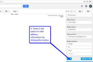 Desktop view of LeadMaster's CRM in Gmail with arrow pointing to add address button