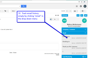 Desktop view of LeadMaster's CRM in Gmail with arrow pointing to email option in drop down menu
