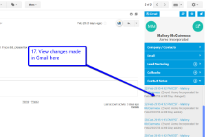 Desktop view of LeadMaster's CRM in Gmail with arrow pointing to navigation bar on the right side