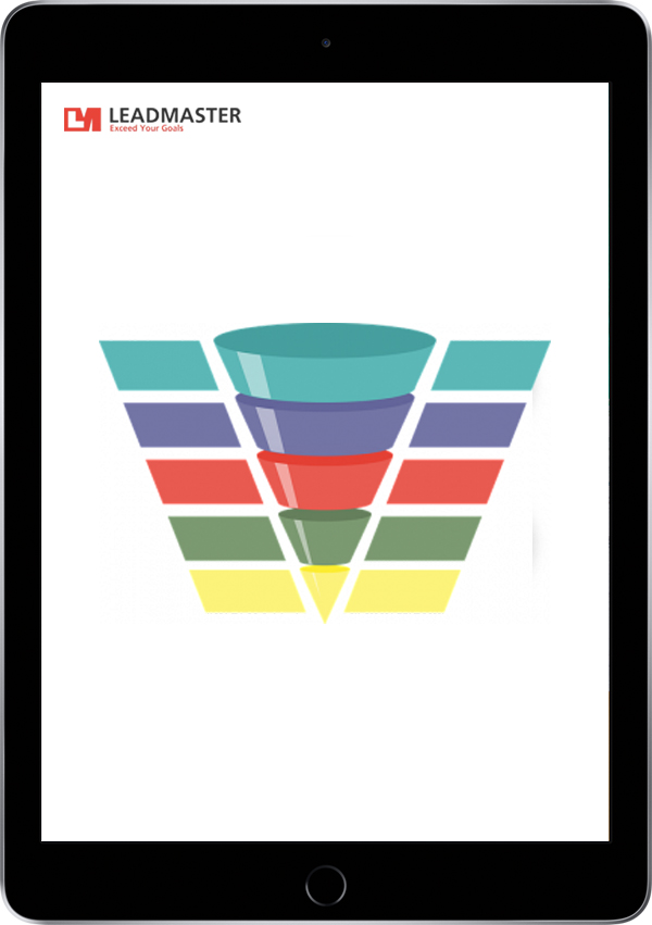 Black iPad showing a funnel divided into different sections and a LeadMaster logo