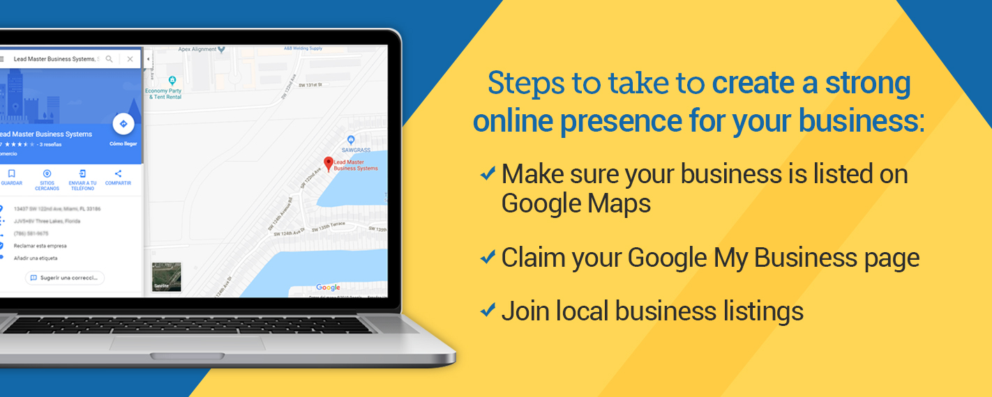 Graphic with steps to take to create a strong online presence for your business
