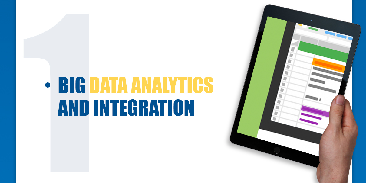 A person's handing holding a black iPad with text saying big data analytics and integration