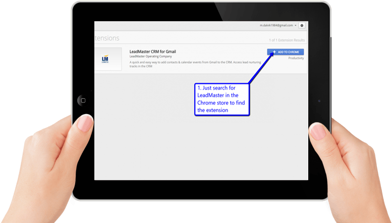 A person's hands holding a black iPad showing how to search for LeadMaster extension in the Chrome store on the screen