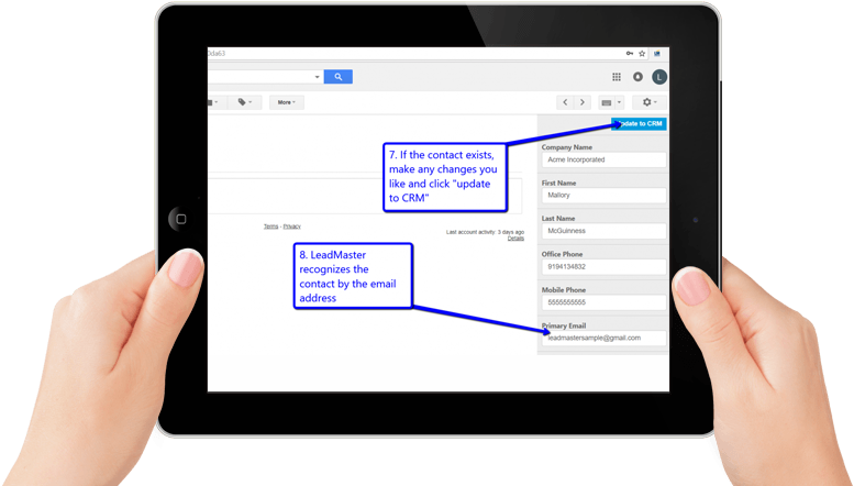 A person's hands holding a black iPad showing how to update a contact in LeadMaster's CRM software