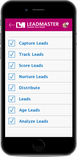 Black iPhone displaying LeadMaster's different lead categories