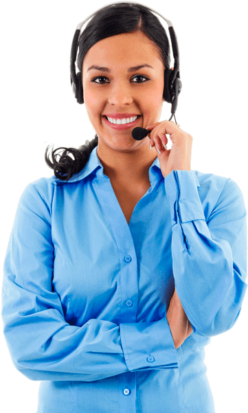 Woman wearing a blue button up shirt with a call center headset on