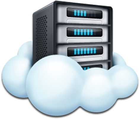 Graphic of a computer server floating on top of a cloud
