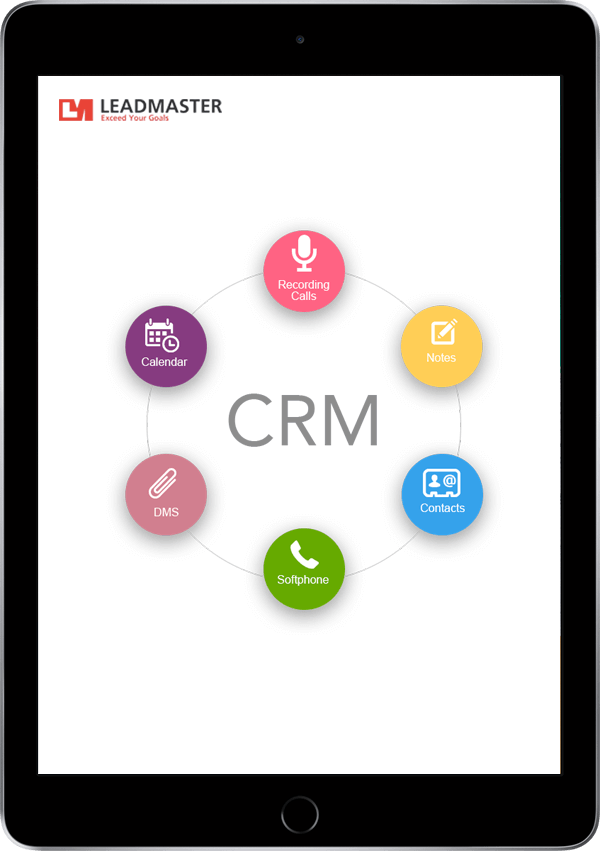 Black iPad displaying the acronym CRM with a circular flow chart around the screen
