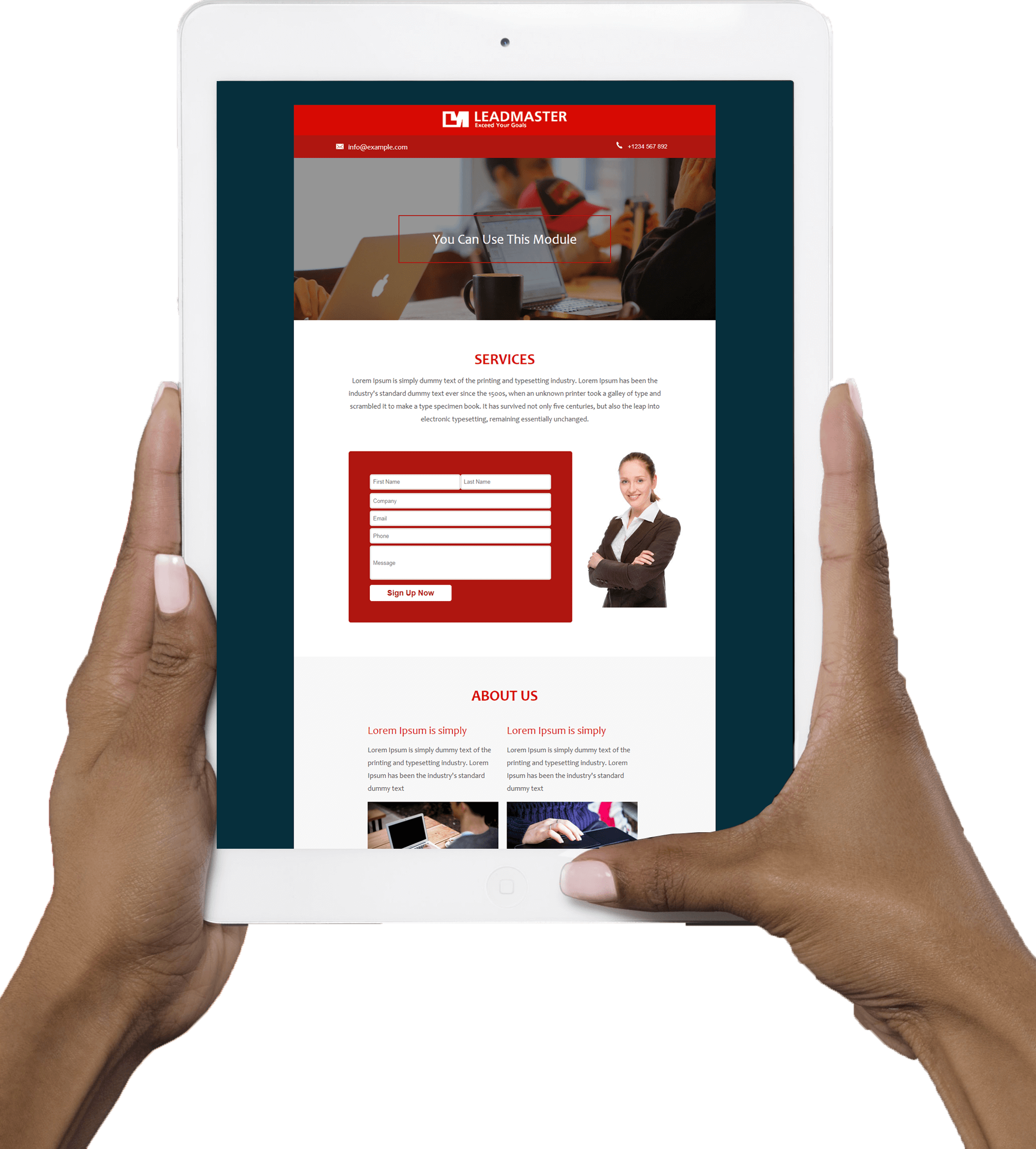 View of a woman's hands holding a white iPad displaying LeadMaster's contact us form on the screen
