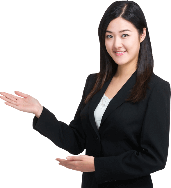 Millennial woman with dark hair wearing a black business suit pointing both hands to her right