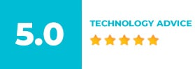 Text box displaying a company rating for technology advice of 5.0