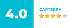 Text box displaying a 4 out of 5 star rating for Capterra