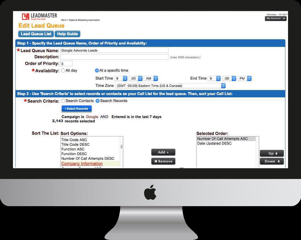 Desktop Mac computer displaying LeadMaster's edit lead queue on the screen