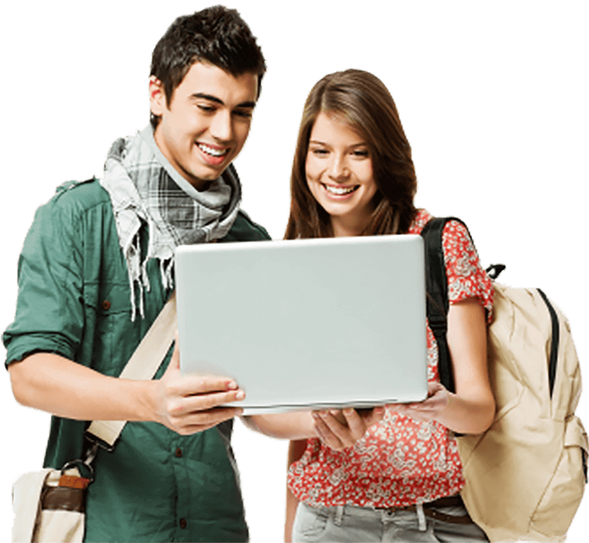 Teenage boy and girl with dark hair and wearing backpacks smiling at a silver laptop screen they are holding together